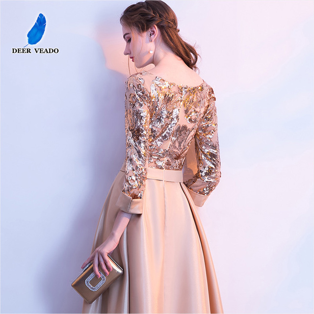 DEERVEADO A Line Sequin Golden Evening Dress Long Prom Party Dresses Evening Gown Formal Dress Women Elegant Robe De Soiree M254 2