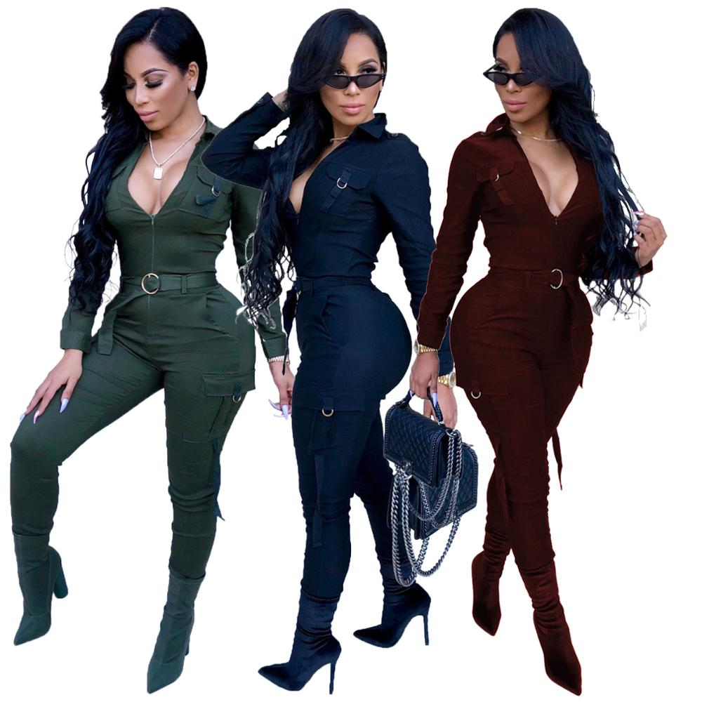 Fashion Streetwear Jumpsuit Women Rompers Long Sleeve Bodycon Playsuit Sexy Bodysuit Overalls Female Women Jumpsuits