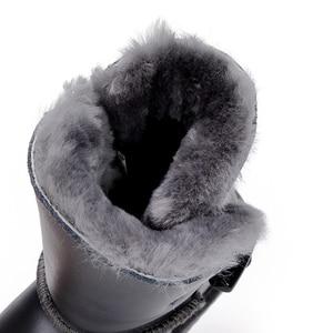 Image 5 - Top Kwaliteit 100% Echt Leer Snowboots Bont Botas Mujer Winter Echte Wol Schoenen Voor Vrouwen
