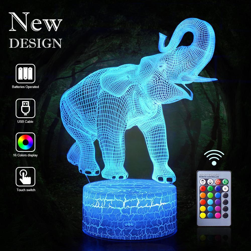 3D Elephant LED Night Light Animal Remote Control Table Lamp RGB Desk Nightlight Christmas Girlfriend Gift Bedroom Decor Kid Toy