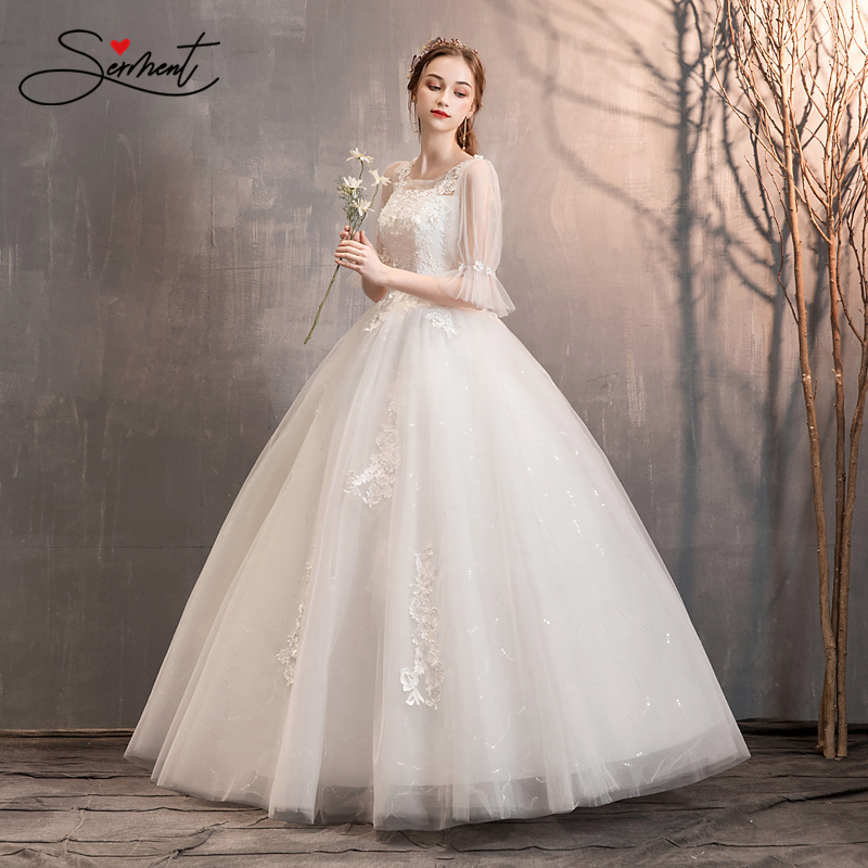 SERMENT Floral Print Lace Three Quarter Wedding Dress Lace Up Ball Gown Floor-Length Spring Summer Autumn Wdeeing