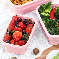 3 PCS Set Foldable Silicone Food Lunch Box Fruit Salad Storage Food Box Container Dinnerware Conveniently Lunch Box Lunch Boxes     -