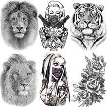 Африка Серенгети Лев временная татуировка Индийский Племенной могучий лев воин Водонепроницаемый флэш-тату наклейка черные татуировки для мужчин и женщин