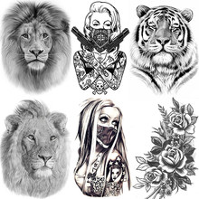 Africa Serengeti Lion Temporary Tattoo Indian Tribal Mighty Lion Warrior Waterproof Flash Tattoo Sticker Black Tatoo Men Women(China)