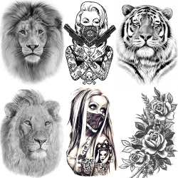 Afrika Serengeti Lion Temporäre Tattoo Indian Tribal Mighty Lion Krieger Wasserdicht Flash Tattoo Aufkleber Schwarz Tatoo Männer Frauen