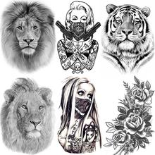 Afryka Serengeti lew tymczasowy tatuaż indiańskie plemię potężny lew wojownik wodoodporny Flash tatuaż naklejki czarny tatuaż mężczyźni kobiety tanie tanio GoldOcean 21*15CM HHB-724