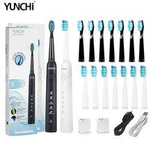 4000 cursos/mins sonic escova de dentes elétrica usb recarregável 5 modos à prova dwaterproof água escovas de dentes para adulto 2 minutos temporizador cuidados orais