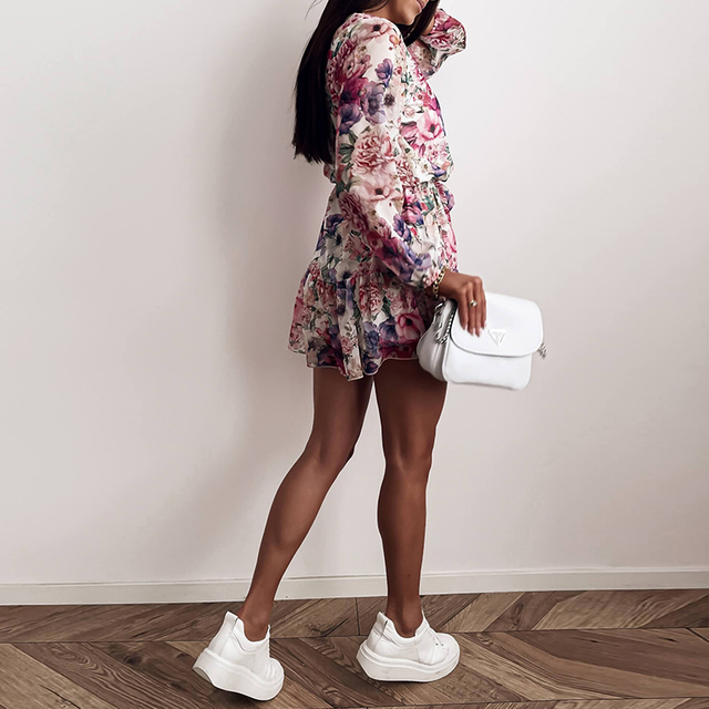 Long Sleeve Chiffon V-Neck Floral Print Mini Dress 6