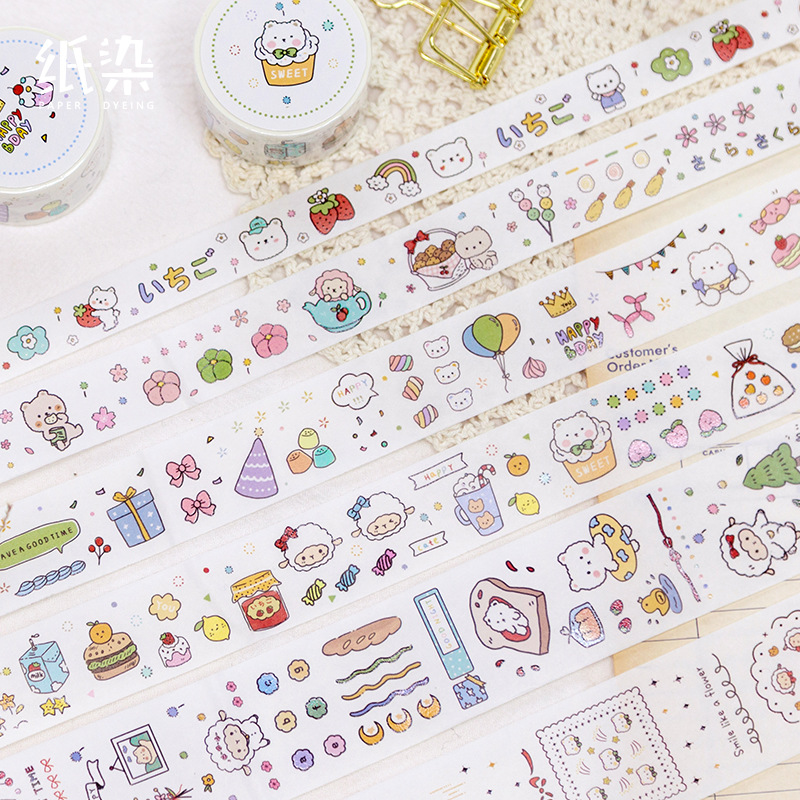 Little Bear Diary Series Washi Masking Tape Decorative Cute Adhesive Tape DIY Scrapbooking Sticker Label Stationery