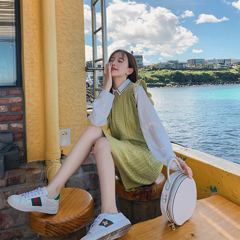 Korean-style  New Style Autumn Base Shirt + Sleeveless Knitted Vest Dress Two-Piece Women's F7573