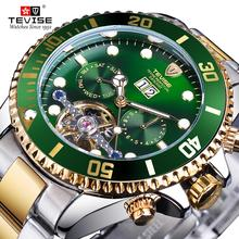 TEVISE Green Dial Tourbillion Gold Bezel Mens Luxury Busines