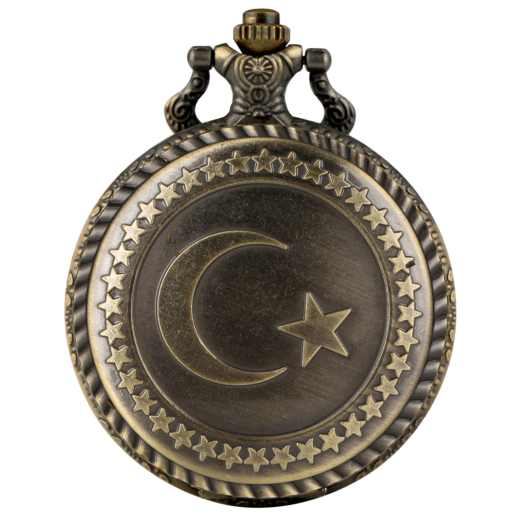 Antique Bronze Turkey Flag Design Quartz Pocket Watch Moon Star Circle Carving Craft Pendant Necklace Accessories Clock Gifts