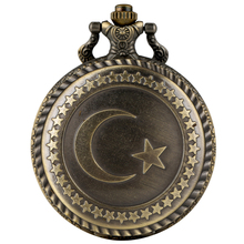 Antique Bronze Turkey Flag Design Quartz Pocket Watch Moon Star Circle Carving Craft Pendant Necklace Accessories Clock Gifts