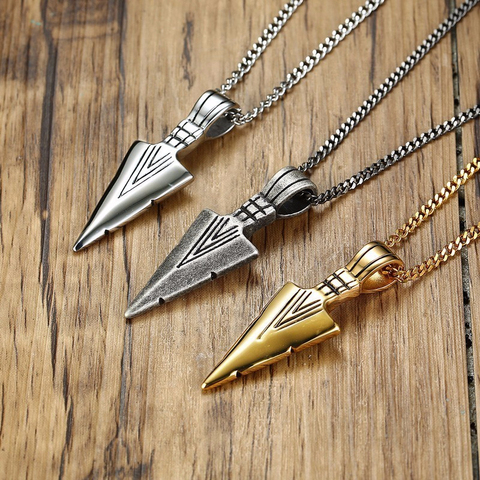 ARROWHEAD KUNAI PRIMAL NECKLACE FOR MEN SPEARHEAD JEWELLERY STAINLESS STEEL TRIBAL SURF PENDANT JEWELRY Islamabad