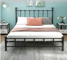 Lit en fer forgé renforcé de 1.5m et 1.8m, drap de lit de princesse nordique, cadre en fer pour double appartement