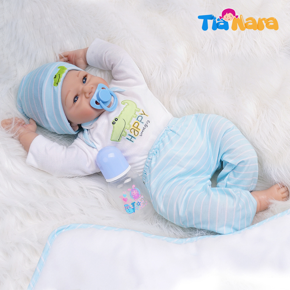 55cm Reborn Baby Dolls Boy Silicone Vinyl Cotton Body White And Light Blue Outfit