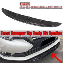 2 pçs universal carro amortecedor dianteiro spoiler difusor aletas corpo kit carro-estilo do amortecedor dianteiro difusor preto/carbono olhar