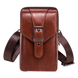 Image 5 - New Leather Mini Messenger Bags for Men Retro Business Office Small Shoulder Bag Casual Wallet Mini Travel Phone Pouch #40