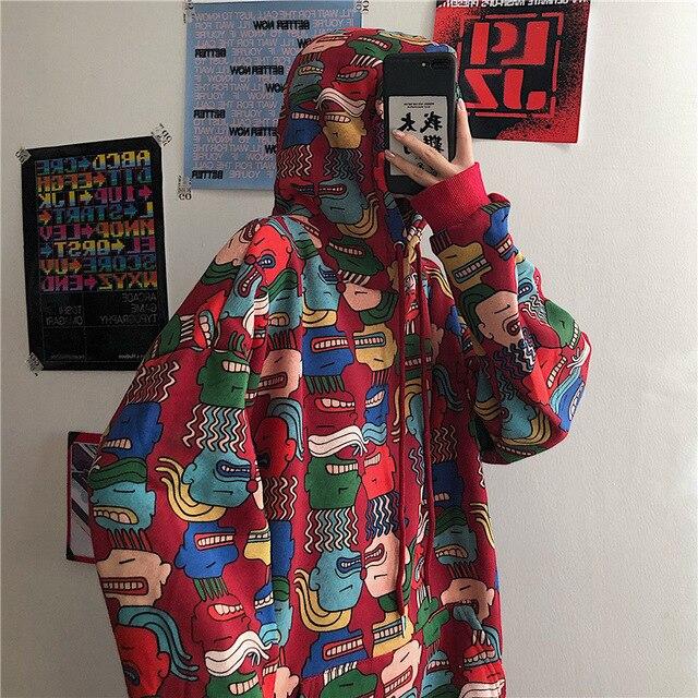 QWEEK Harajuku Red Print Sweatshirt Women Long Sleeve Kpop Hoodie Women Gothic Streetwear Hoodies Emo Hoodie Vintage Pullover 1