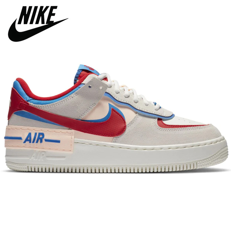 Original Ladies Air Force 1 Sports Sneakers Skate Shoes Air Force 1 Shadow AF1 Low Pale Ivory Pastel Sail Spruce Halo