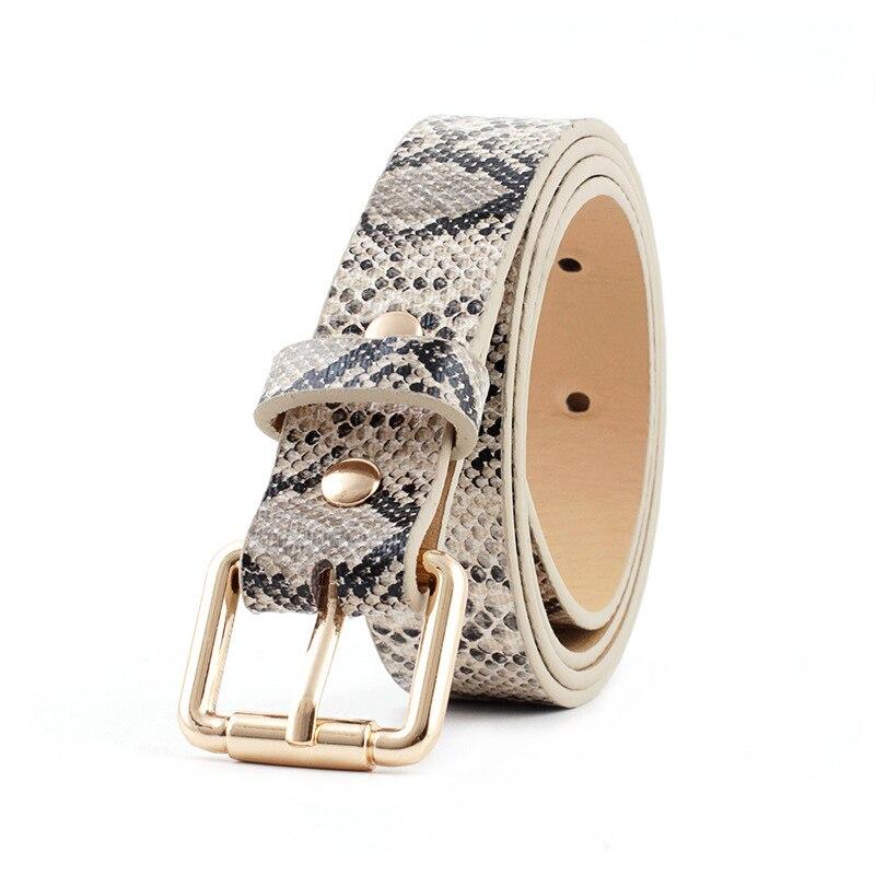 High Quality Belt Snake Skin Print 2020 Brand Design Belts Women Gold Square Pin Buckle Waistband Narrow Side Girdle