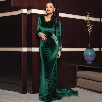 Emerald Green Evening Formal Dresses with Beaded Beading V-neck Long Sleeve Velvet Mermaid Arabic Muslim Dubai Prom Gowns - discount item  43% OFF Special Occasion Dresses