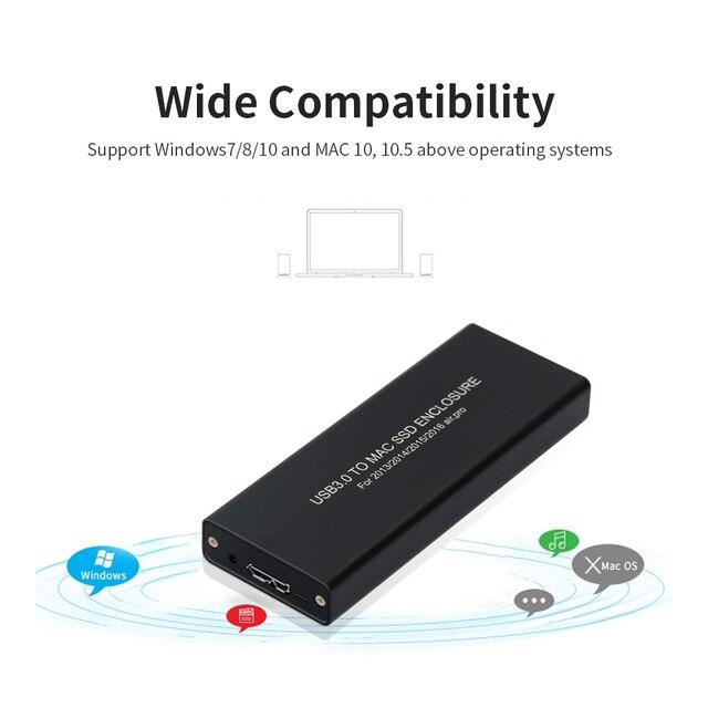 USB3.0 to Mac SSD muhafaza USB3.0 alüminyum alaşımlı SSD muhafaza 2013/2014/2015 MacBook hava/Pro/Retina apple SSD durumda kutusu