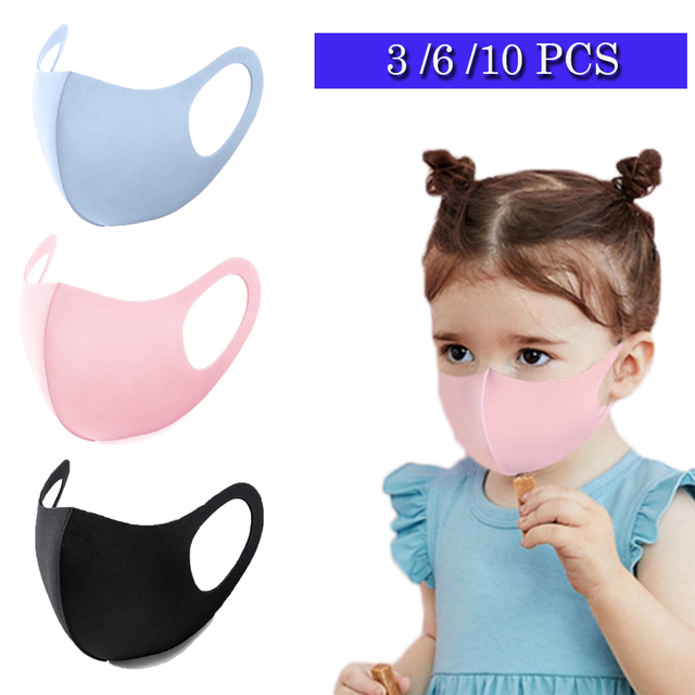 Children Protective Mask Reusable Anti-Dust Haze Flu Face Mask Kids Washable Mouth Mask Respirator Solid Dustproof Masks D30