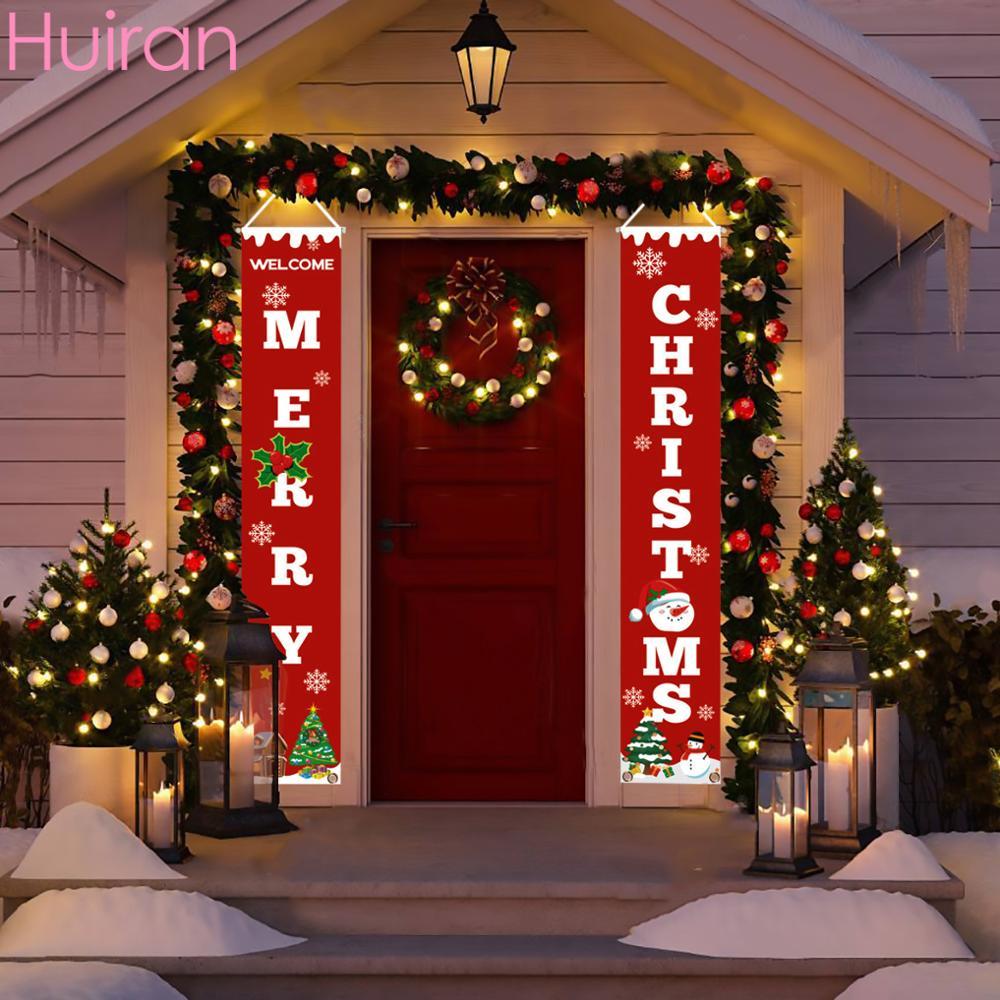 Santa Claus Frohe Weihnachten Dekor für Home Weihnachten Hängende Ornamente Tür Noel Navidad 2019 Cristmas Decor Frohes Neues Jahr 2020