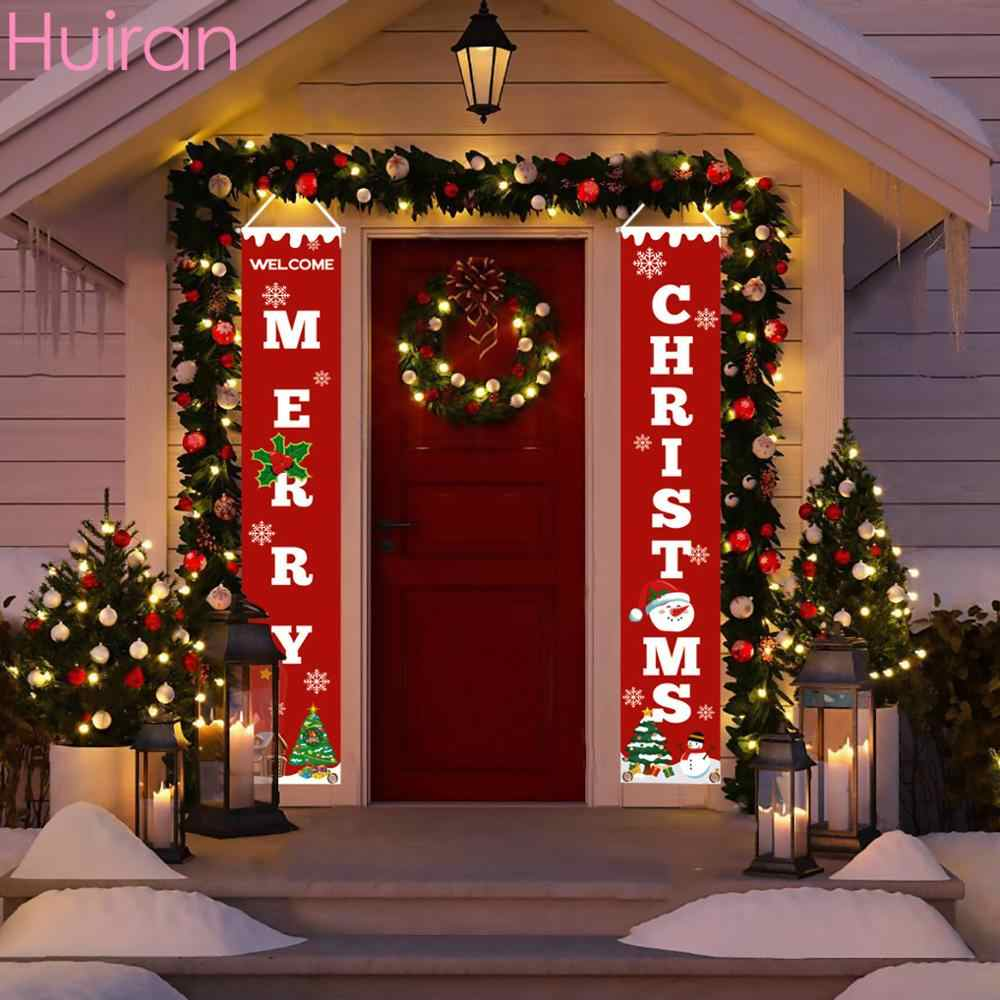 Hanging Banner Images Merry Christmas & Happy New Year 2020 Santa Claus Merry Christmas Decor for Home Christmas Hanging