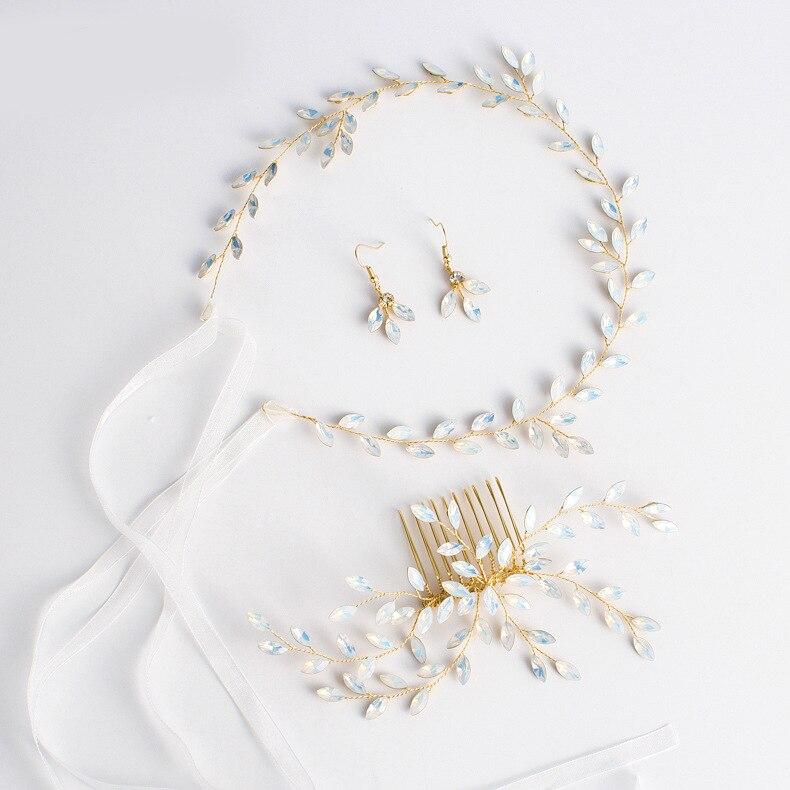 Горячая новинка, Опаловая Свадебная расческа для волос с листьями и кристаллами, простой свадебный головной убор для свадебной вечеринки - Цвет: 4