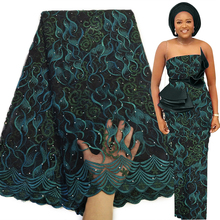 Bestway Latest Teal French Tulle Lace Fabric 2020 High Quality Swiss Embroidery Nigerian Gown Beaded African Lace Fabric 5 Yards