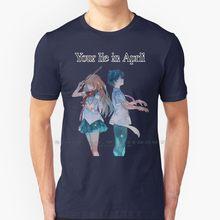Sua mentira em abril (shigatsu wa kimi no uso)-versão inglês t camisa 100% puro algodão shigatsu wa kimi não uso sua mentira em