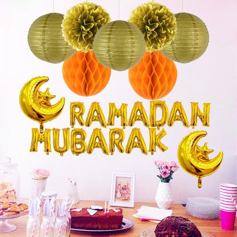 Image 2 - DIY Ramadan Decoration Set Letter Foil Balloons Gold Silver Paper  Lantern Honeycomb Flower Ball Eid Mubarak Festival CelebrationParty  DIY Decorations