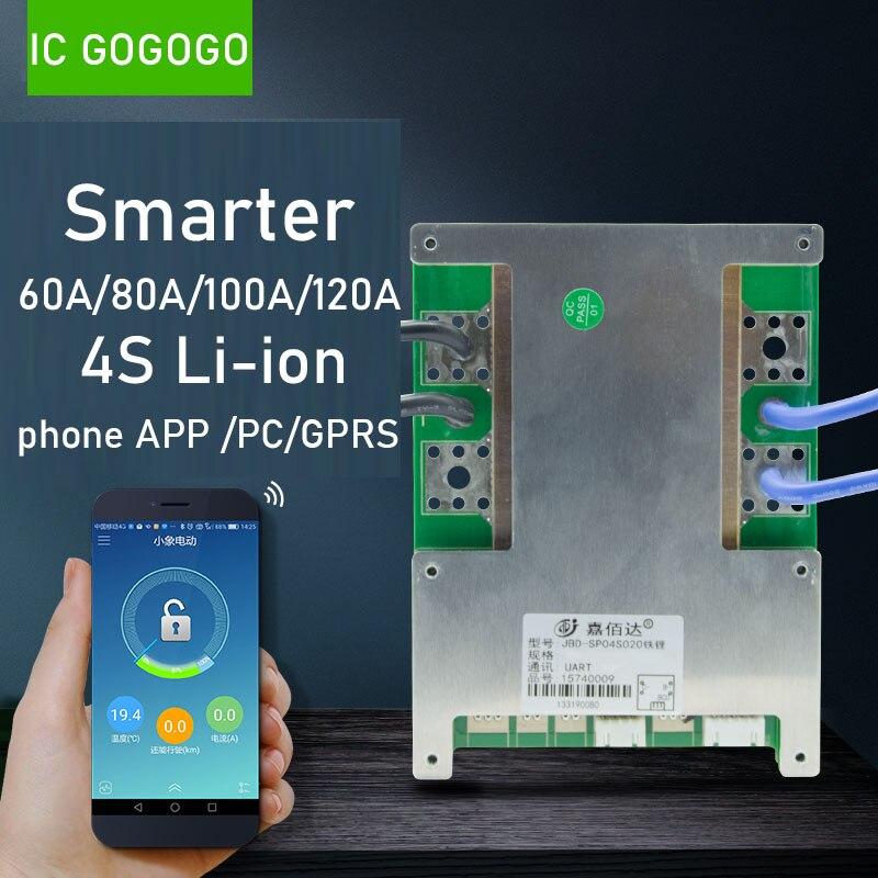 JBD inteligentny 4S BMS 16.8V 12V 60A 80A 100A 120A litowo-jonowy 3.7V litowo-jonowy płyta ochronna wysoki prąd Bluetooth APP PC GPRS bilans