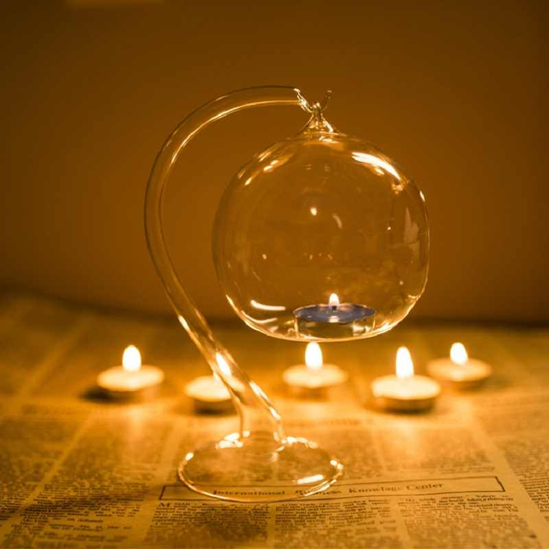 Transparent Glass Ball Candle Holder Candlestick Light Home Decoration Tools Wedding Decor Candle Stand Clear Hot