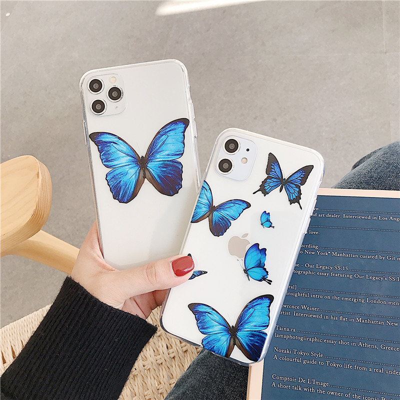 Lovebay Transparent Cute Butterfly Phone Case For IPhone 11 Pro Max Soft TPU Clear Back Cover For IPhone 6 6s 7 8 Plus