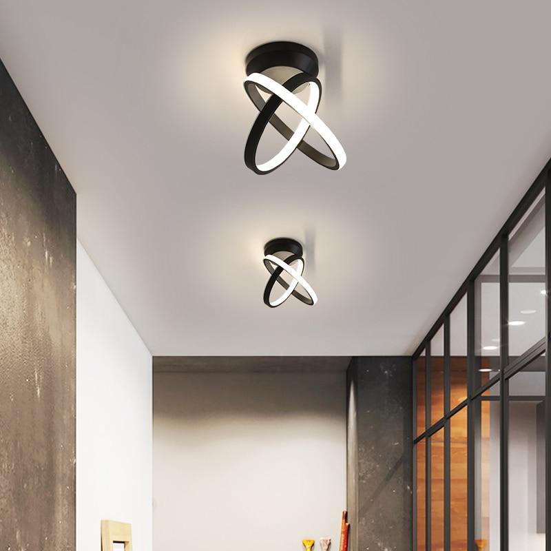 180x160mm 12W moderne led lustre pour corridro foyer chambre hall blanc ou noir peint maison déco petits lustres luminaires