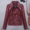 Senhora do escritório da motocicleta jaquetas de couro real pele de carneiro genuíno casacos de couro fino moda curto fino aviador jaqueta feminina