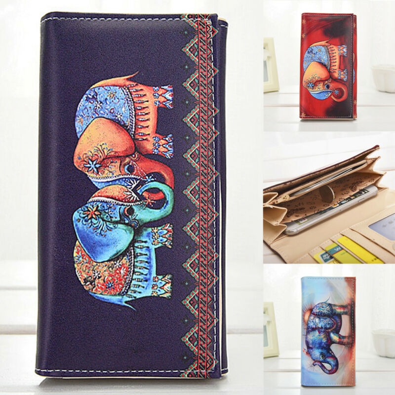 2020 New Personality Creative  Women Purse Clutch Leather Pu Elephant Print Wallet Long Card Holders Handbag Doodle Wallet