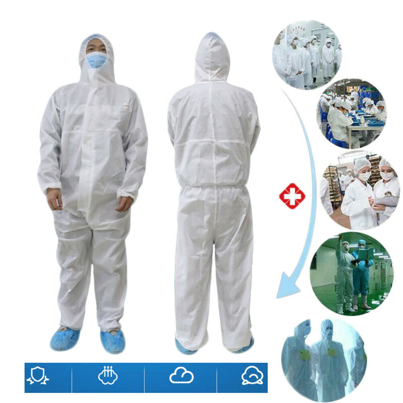 White Coverall Hazmat Suit Protection Protective Disposable Anti-Virus Clothing Disposable Factory Hospital Safety Clothing