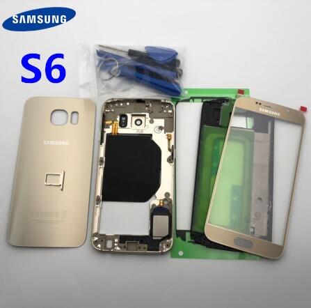 Oryginalna pełna obudowa tylna pokrywa + przednia do szkła ekranu i soczewek + środkowa ramka do Samsung Galaxy S6 G920 G920F G920A SM G920F
