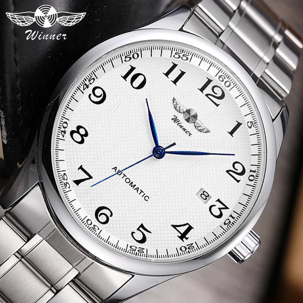 WINNER 2019 New Automatic Watch Men Business Mechanical Watches Brand Luxury Stainless Steel Strap Date Classic Wristwatch Mens|Mechanical Watches| |  - title=