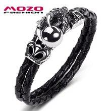 цена на Male Jewelry Black Genuine Leather Bracelet Stainless Steel Dragon Claw Silver Beads Punk Charm Women Bangle