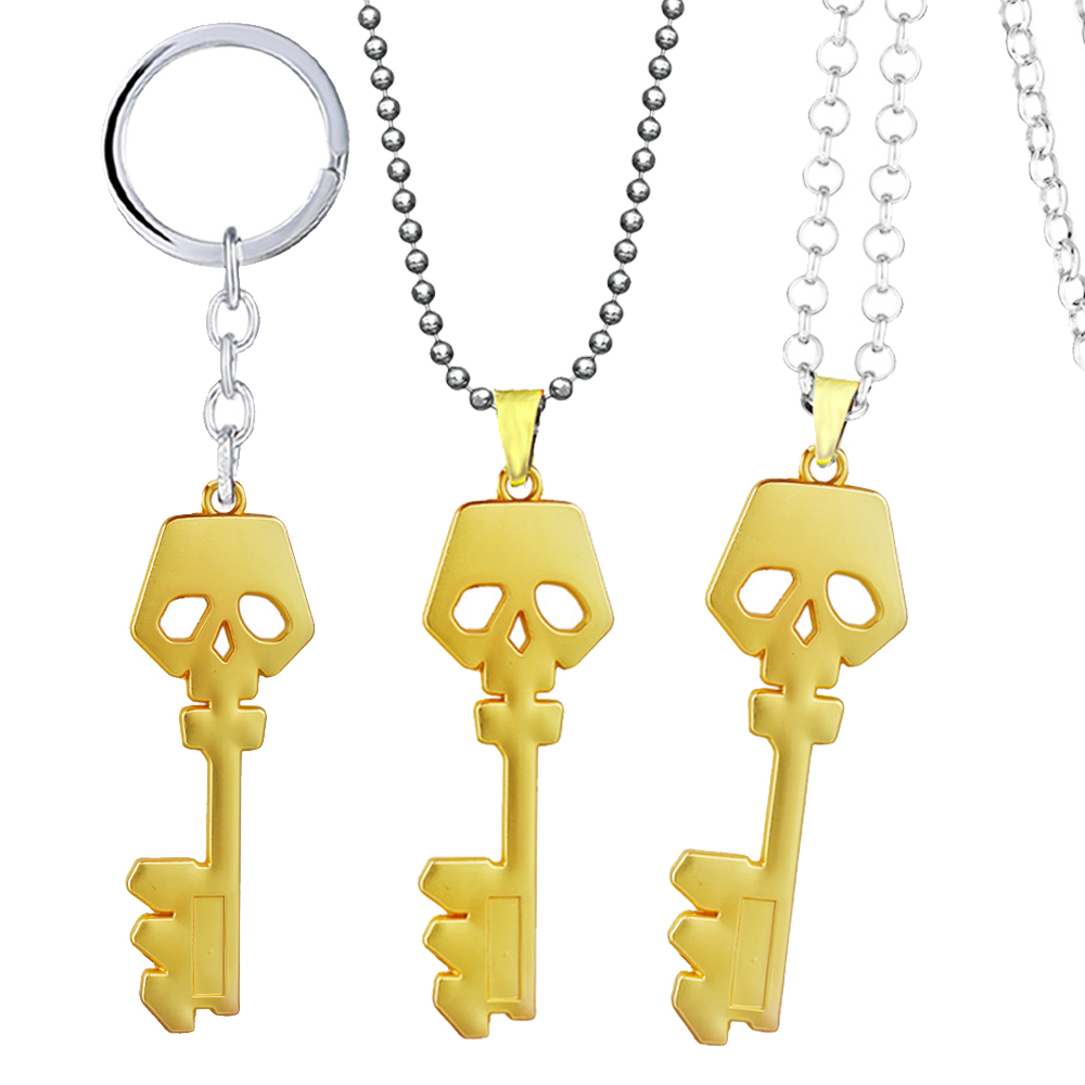 Borderlands Golden Key Shape Necklace For Men Metal Rope Bead Chain Treasure Chest Key Pendant Women Game Jewelry collares image