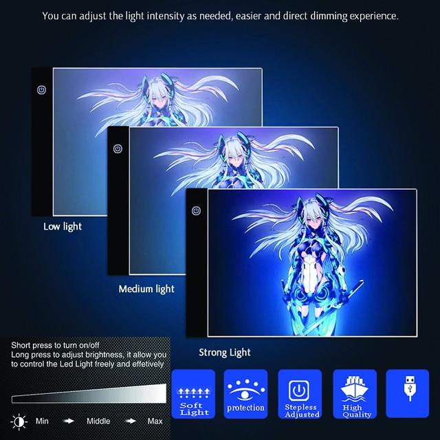 Rantion LED tablero de almohadilla de luz USB pintura de diamante accesorios de rastreo Kits de herramientas tatuaje A4 A4Pro A5 caja de dibujo de tableta gráfica