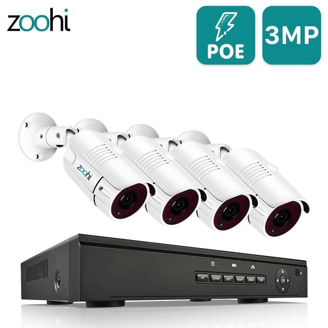 Zoohi H.265 3MP System kamer bezpieczeństwa zewnętrzna IR noktowizyjna kamera telewizji przemysłowej zestaw do organizacji kamera POE IP66 zdalna aplikacja podłącz