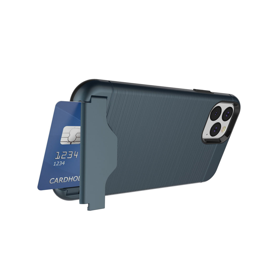 Brushed Armor Card Holder Case for iPhone 11/11 Pro/11 Pro Max 1