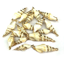 Wholesale 5 Pcs Natural Shell Conch Necklace Pendants Charms for Jewelry Making DIY Bracelet Necklaces Accessories Size 17x50mm