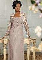 Elegant Vintage Floor Length Chiffon Mother of the Bride Lace Dresses With Jacket Plus Size Pant Suits Groom Dresses
